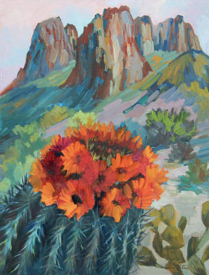 Painting - Red Flame Hedgehog Cactus by Diane McClary