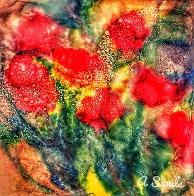 Painting - Red Floral Abstract by Anne Sands