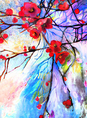 Wall Art - Painting - Red Floral Branches by E Bradshaw