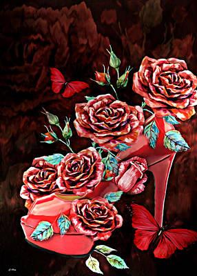 Red Floral Heels Art Print