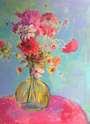 Painting - Red Floral In Green Vase by Tracy Haines