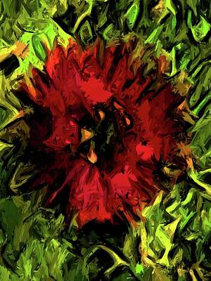 Digital Art - Red Flower And Green Leaves With Black Lines by Jackie VanO