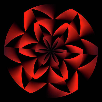 Red Ribbon Digital Art - Red Flower Beauty Abstract by Daniel Hagerman