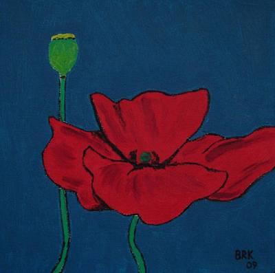 Red Flower Art Print by Bo Klinge