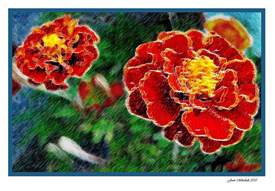 Art Print featuring the photograph Red Flower In Autumn by Joan  Minchak
