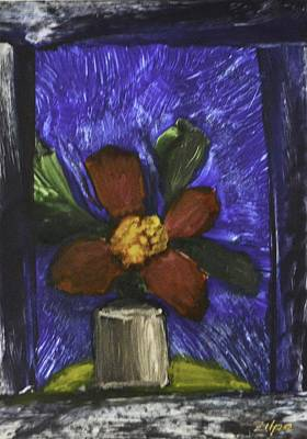 Painting - Red Flower In Pot by Zilpa Van der Gragt