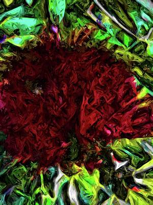 Digital Art - Red Flower In The Shadows And Bright Green Leaves by Jackie VanO