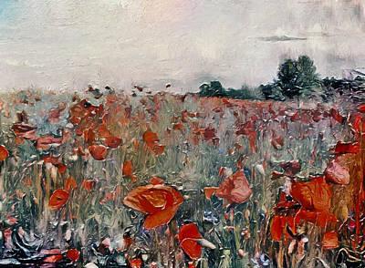 Digital Art - Red Flower Meadow by Yury Malkov