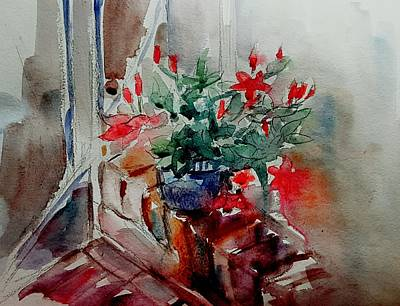 Painting - Red Flower Pot From Front Door.  by Hae Kim
