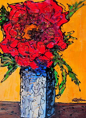 Red Flower Square Vase Art Print