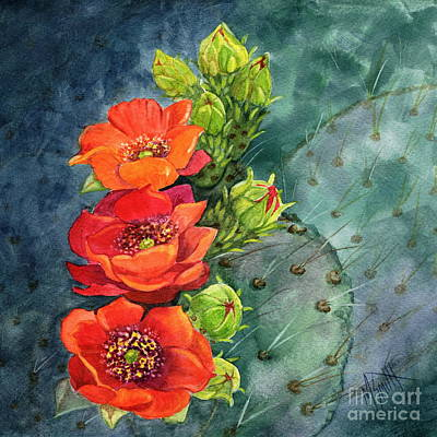 Prickly Pear Painting - Red Flowering Prickly Pear Cactus by Marilyn Smith