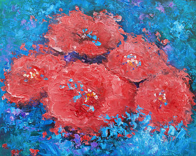 Poppy Painting - Red Flowers Abstract by Jan Matson