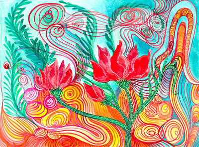 Painting - Red Flowers by Adria Trail