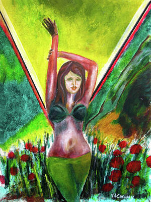 Painting - Red Flowers And The Girl In Green by Tom Conway