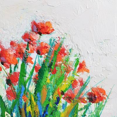 Red Flowers And Wall Art Print by Philip Jones
