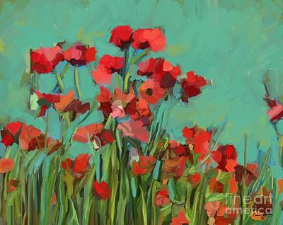 Outdoor Still Life Painting - Red Flowers by Carrie Joy Byrnes