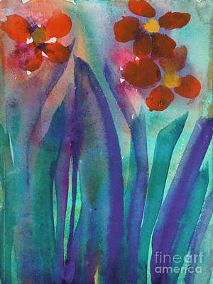 Painting - Red Flowers by Christina Miller Age Nine