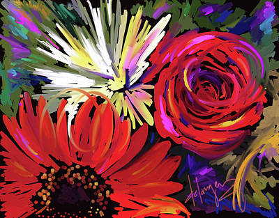Art Print featuring the painting Red Flowers by DC Langer