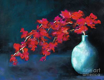 Red Flowers Art Print by Frances Marino