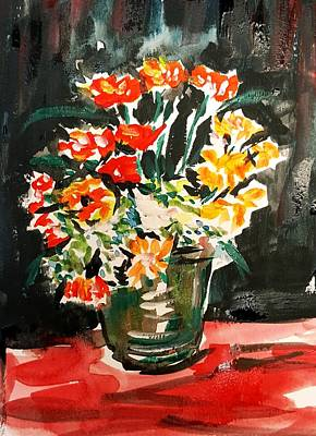 Drawing - Red Flowers  by Hae Kim