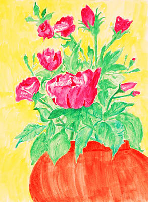 Red Flowers In A Brown Vase Art Print
