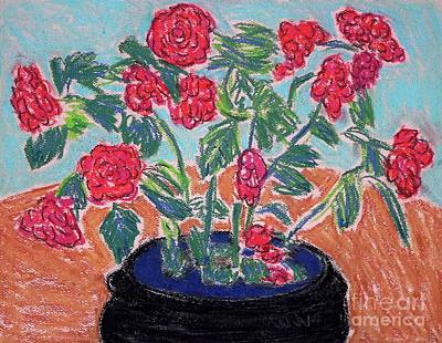 Drawing - Red Flowers In Black Pot by Gerhardt Isringhaus