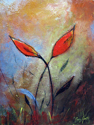 Painting - Red Flowers In Field by Gary Smith