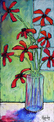Outsider Art Pastel - Red Flowers In The Window by David Hinds