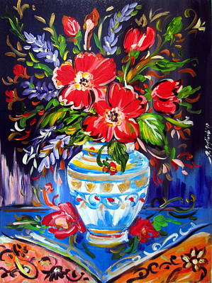 Painting - Red Flowers In Vase by Roberto Gagliardi