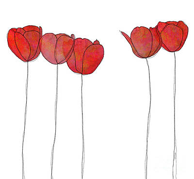 In A Row Mixed Media - Red Flowers by J Ripley Fagence