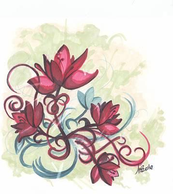 Red Flowers Art Print by Krista Payne