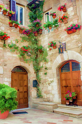 Red Flowers On The Wall II Art Print