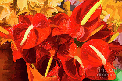 Digital Art - Red Flowers by Rick Bragan