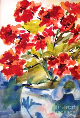 Red Flowers Art Print by Sandi Stonebraker