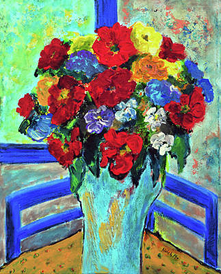 Painting - Red Flowers You Brought by Haleh Mahbod