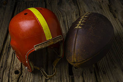 Collectible Sports Art Photograph - Red Football Helmet by Garry Gay