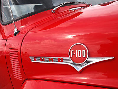 Photograph - Red Ford F-100 Emblem by Gill Billington