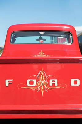 Red Ford F100 Pickup Truck Art Print