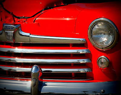 Photograph - Red Ford Grille  by Kimberly-Ann Talbert