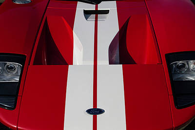 Photograph - Red Ford Gt Hood by Joel Witmeyer