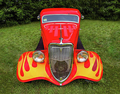 Photograph - Red Ford Hot Rod With Flames by Betty Denise