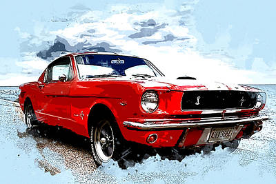 Ford Mustang Painting - Red Ford Mustang Cobra by Elaine Plesser