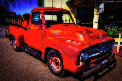 Aging Photograph - Red Ford Pick Up by Garry Gay