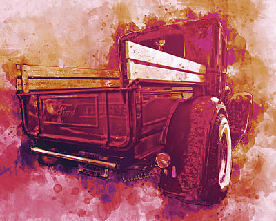 Digital Art - Red Ford Pickup With A Hypothetical Destination by Chas Sinklier