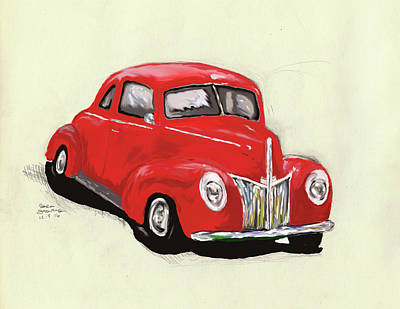 Digital Art - Red Ford  by Sara Stevenson