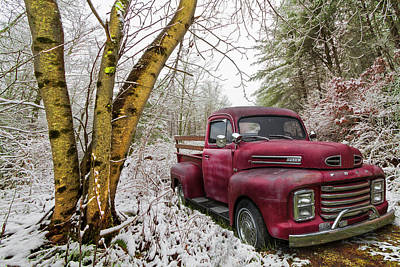 Photograph - Red Ford Truck In The Snow by Debra and Dave Vanderlaan
