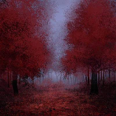 Yosemite Painting - Red Forest by Bekim Art
