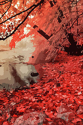 Painting - Red Forest In Autumn by Andrea Mazzocchetti