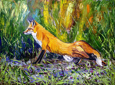 Painting - Red Fox 24x18x3/4 Inch Oil On Canvas by Manuel Lopez