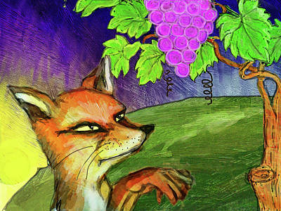 Red Fox And Grapes Original by Shakila Malavige